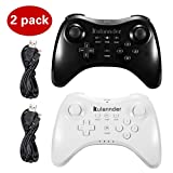 Cheap Wii U Pro Controller- Kulannder Wireless Rechargeable Bluetooth Dual Analog Controller Gamepad for Nintendo Wii U with USB Charging Cable (Black+White)2Pack,Perfect Gift for Kids