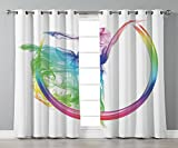 Thermal Insulated Blackout Grommet Window Curtains,Abstract Home Decor,Smoke Dance Shape Silhouette of Dancer Ballerina Rainbow Colors Fantasy Decorative,,2 Panel Set Window Drapes,for Living Room Bed