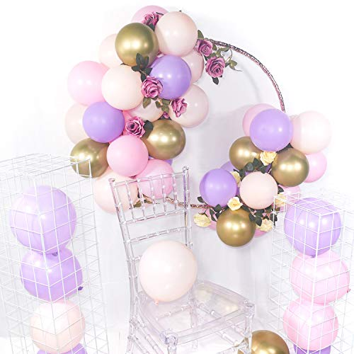 PartyWoo Purple Pink Gold Balloons, 60 pcs 12 Inch Purple Balloons, Light Pink Balloons, Gold Metallic Balloons and Pink Balloons, Purple Pink Balloons for Princess Birthday Party, Purple Baby Shower