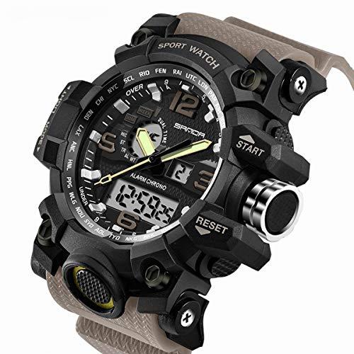 SANDA Mens Digital Wrist Watches Men G Style Waterproof Watch Military Sports Electronic Quartz Outdoor Army LED Stopwatch Big Face Watch
