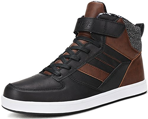 Littleplum Men's Warm Leather Lace-Up Ankle Sneakers High Top with Cotton Polyester Lining