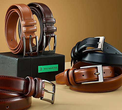 Marino's Men Genuine Leather Dress Belt with Single Prong Buckle. – Pack of 2 – 1 Black and 1 Brown, 48″ (Waist: 46)