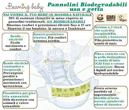 34 Tama/ño 4 Beaming Baby Pa/ñales Biodegradables MAXI PLUS