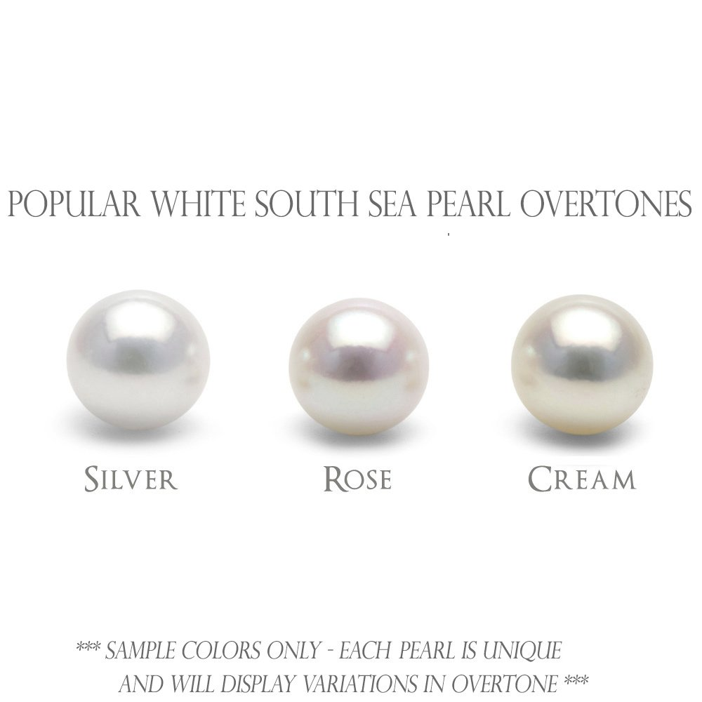 18K White South Sea Cultured Pearl and Diamond Bezel Dangle Earrings, 13.0-14.0mm - AAA Quality, 18K White Gold by Pure Pearls (Image #4)
