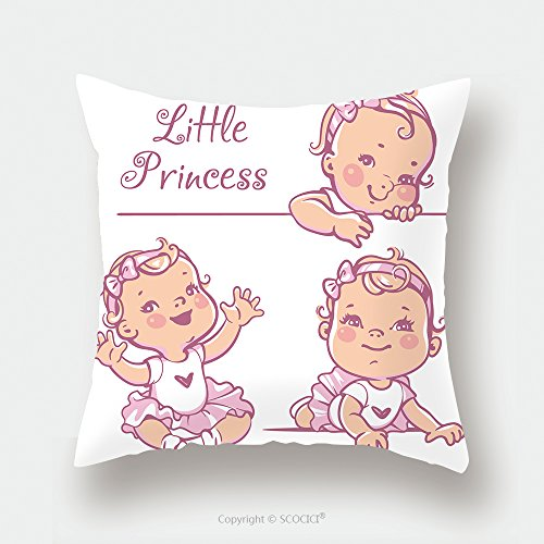 Custom Satin Pillowcase Protector Set With Cute Little Baby Girl With Curly Hair, Wearing Bow, Pink Tutu. Portrait Of Happy Smiling Child One Year Old. Little Princess Sitting, Lying On White B by chaoran