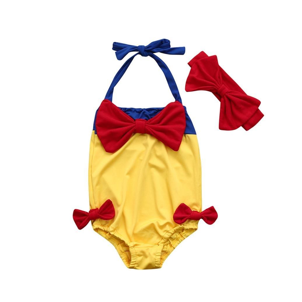 BYSTE Costume da bagno Bambina Bikini Ragazze Spiaggia Trikini Costumi da bagno Bowknot fionda One Piece Swimsuit Coordinati Beachwear Fascia per capelli outfits 2Pcs BYSTE_003821
