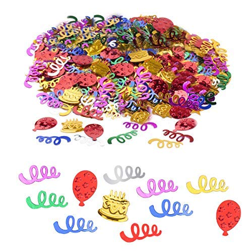 Haley Party Happy Birthday Confetti for Table Embossed Foil Birthday Confetti Birthday Decorations for Girls Boys Kids Birthday Party Decor (Colorful Mix, 1oz)