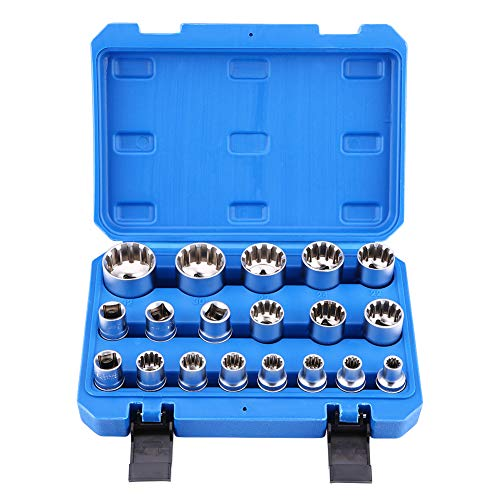19pcs Hex Bit Socket, Universal 6 12 Point E-Torx Spline Bit Set 1/2 inch Drive Gear Torx Bit Socket with Special Shaped and Metric Inch Sizes Repair Tool by Zerone (Image #9)