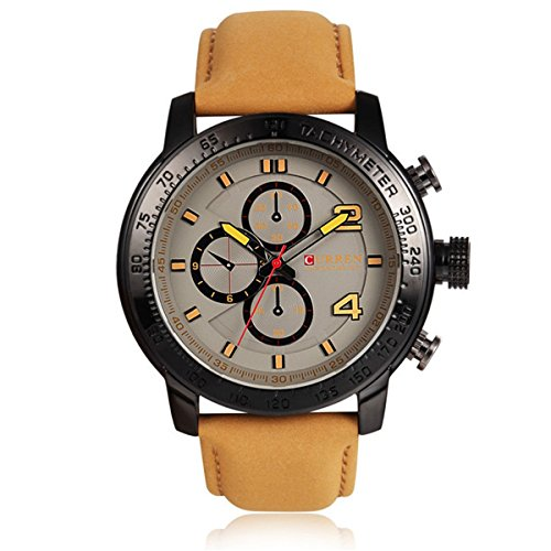 Vavna 2015 Top New Three Sub Dial Watches Mens Casual Military Sports Leather Analog Watches Clock   Light Coffee