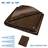E&K Sunrise 30' x 40' Finished Size General Multi-Purpose Tarpaulin Ultra Heavy-Duty 8 oz/16-mil Poly Tarp - Brown