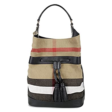 2b7c77933442 Image Unavailable. Image not available for. Color: Burberry Large Ashby  Check Canvas Leather Tote - Black