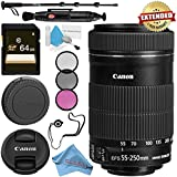 Canon EF-S 55-250mm Lens 8546B002 + 58mm 3 Piece Filter Kit + 64GB SDXC Card + Lens Pen Cleaner + Fibercloth + Lens Capkeeper + Deluxe 70 Monopod + Deluxe Cleaning Kit Bundle