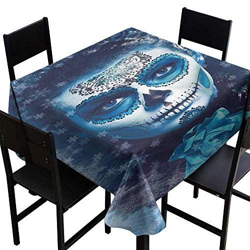 longbuyer Stain Resistant Wrinkle Tablecloth,Santa Muerte Concept Winter Ice Cold Snowflakes Frozen Dead Folkloric 54