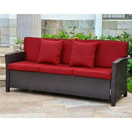 International Caravan Barcelona Patio Sofa in Chocolate and Merlot