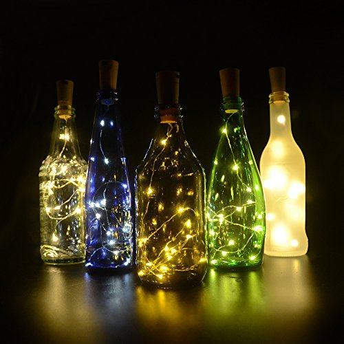 Table Centerpieces With Lights - Fairy Lights, iGopeaks 6 Pcs Starry String Lights Wine Bottle Lights with Cork for Bedroom, Party, Table Decor, Christmas, Halloween, Wedding Centerpieces - Warm White