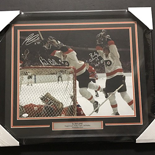 Framed Autographed Signed Lcb Line Leach Bobby Clarke Barber 16x20 Photo JSA Coa (Autographed Barber Photo)