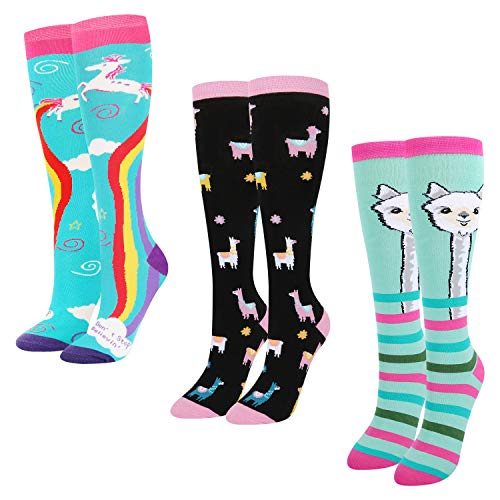 Women's Girls Novelty Crazy Knee High Socks, 3 Pack Funny Colorful Rainbow Unicorn Llama Over Calf Boot Socks
