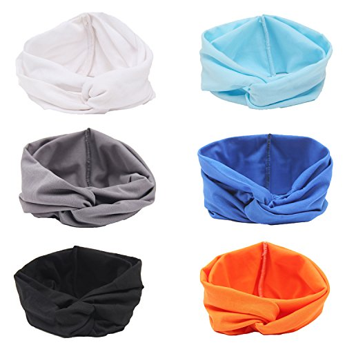 Century Star Womens Ladies Sweet Lovely Wide Contrast Color Cross Elastic Headband 6PCSStyleB