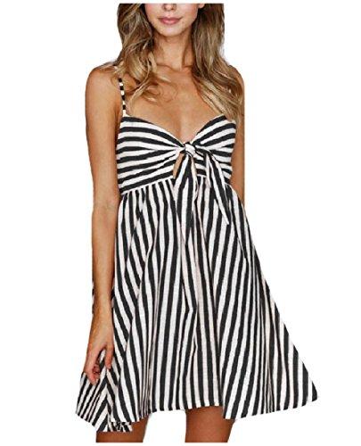 Fine Short Stripe (Mfasica Women's Knot Tunic Backless Fine Cotton Stripes Short Dresses Black XS)
