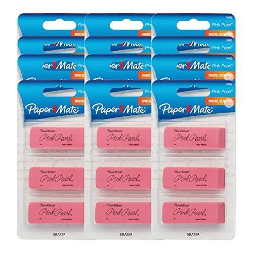 (Paper Mate Pink Pearl Erasers, Large, 12 Packs of 3 (36 Erasers) (Renewed))