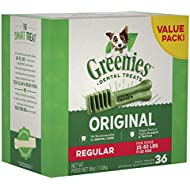 GREENIES Original Regular Size Natural Dental Dog Treats, 36 oz. Pack (36 Treats)