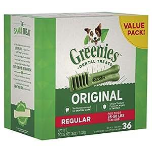 GREENIES Original Regular Dental Dog Treat, 1kg (36 treats)