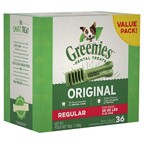 GREENIES Original Regular Size Natural Dental Dog Treats, 36 oz. Pack (36 Treats)]()