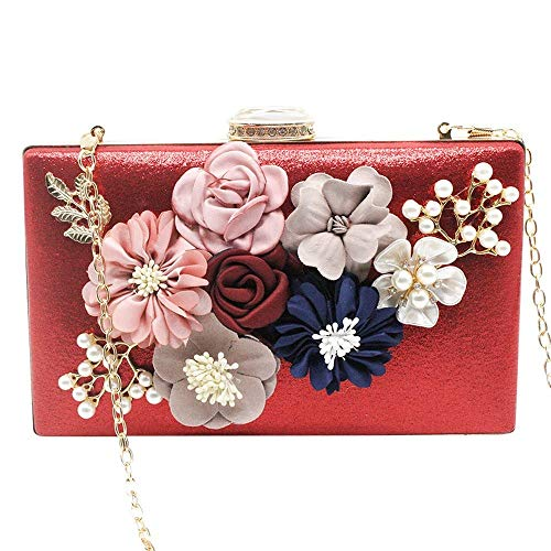 Bags Envelope Clutches Pearl Women Red Evening Sequins Flower Purses Blue Handbag Cckuu Royal YgfqtwA