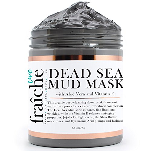 Live Fraiche Organic Dead Sea Mud Mask Facial & Body Cleanser- 8.8oz -Fight breakouts acne blackheads & Reduce Pores/Lines/Wrinkles - pure & natural to tighten & tone see clearer brighter younger (Dead Sea Body Mud)