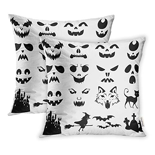 Emvency Set of 2 Throw Pillow Covers Print Polyester Zippered Stencil of Halloween Pumpkins Carved Silhouettes Face Pillowcase 20x20 Square Decor for Home Bed Couch Sofa -