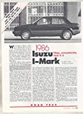 1986 Isuzu I-Mark Roadtest Sales Brochure