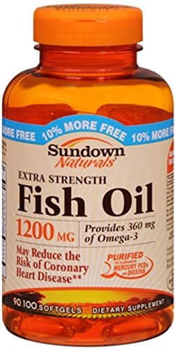 Sundown Naturals Fish Oil 1200 mg With Natural Omega-3 Softgels 90 Soft Gels (Pack of 12) by Sundown