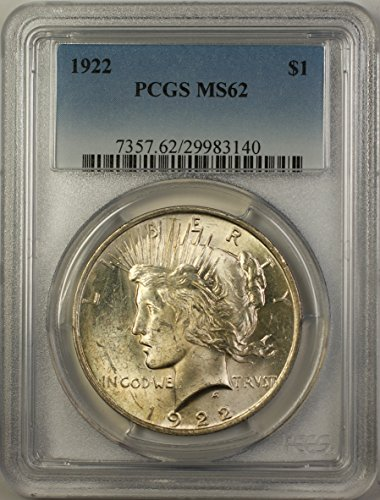 1922 Peace Silver Dollar Coin (ABR12-D) Better Coin $1 MS-62 PCGS