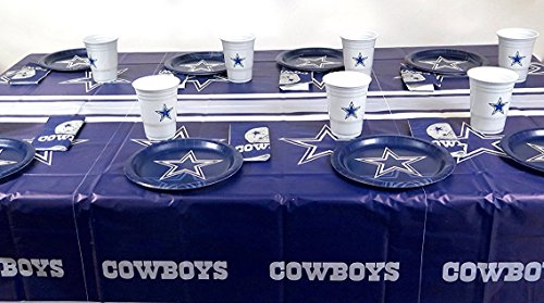 Dallas Cowboys, Dad's birthday l party 49 pieces playoffs party set, Tablecloth,16 plate, 16 napkins, and large plastic 16 -
