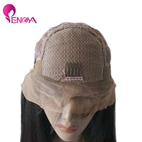 Natural Looking Italian Yaki Lace Front Wigs/ Silk Top Lace Front Wigs Best Brazilian Remy Human Hair Wigs with Baby Hair for African Americans 130 Density (12'' Silk Top Lace Front Wig) by Enoya (Image #1)