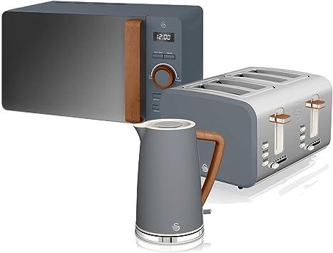 Swan Nordic Set Desayuno Hervidor de agua 1,7L 2200W, Tostadora Pan ranura ancha 4 rebanadas, Microondas 20L digital, diseño moderno, efecto madera, gris pizarra: Amazon.es: Hogar