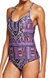 Lucky Brand 2 Piece Tankini Set - Desert Dancer Strappy V-Neck Top & Hipster Bikini Pant, Purple Tribal, S