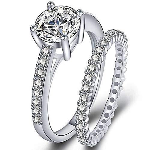 Jude Jewelers Platinum Plated Simulated Diamond Wedding Engagment Eternity Bridal Ring Set (Silver, 6)