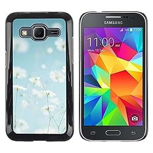 TopCaseStore / la caja del caucho duro de la cubierta de protección de la piel - Summer Field Flowers White Happy Warm - Samsung Galaxy Core Prime SM-G360
