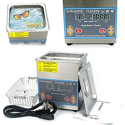 Cleaning Machine, 2L Stainless Steel Industry Digital Heated Ultrasonic Cleaner Heater with Digital Timer for Cleaning Jewelry, Watch Parts, Glasses, Nail Tattoo Equipment (USA Stock)