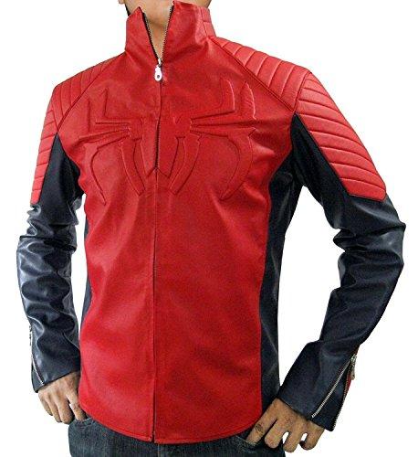 Civil War Spiderman Costume (Spiderman Logo Red Halloween Costume Leather Jacket for Mens (L, Spider-Logo-Red))