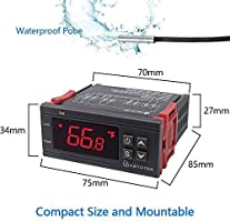 AC 110V Digital Temperature Controller Incubator Thermostat Fahrenheit 10A 2 Relays with Sensor KETOTEK