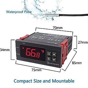 AC 110V Digital Temperature Controller Incubator Thermostat Fahrenheit 10A 2 Relays with Sensor (Color: Black, Tamaño: 3.35*2.95*1.76 IN)