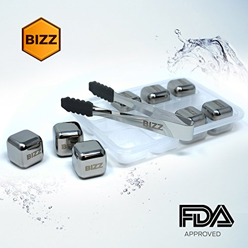 Bizz Whiskey Stones Set (10-Piece Set) Reusable Ice Cubes, Mini Tongs, Tray | Stainless Steel Cocktail Accessories | Refreezable Chilling Blocks | No More Watered-Down Taste by Bizz