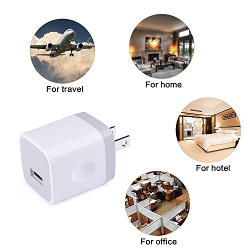 new Wall Charger, Ououdee 4-Pack USB 1AMP Universal Home Travel Adapter Charger Cubes for iPhone 8, 7 Plus, 6 Plus, 6s Plus, iPad, Tablet, Samsung Galaxy S9, S8, S7, S6 Edge, LG, HTC, Sony, Nokia and More