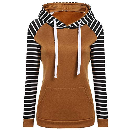 Zackate Womens Casual Stripe Long Sleeve Hooded Sweater Pullover Sporty Solid Color Sweatshirt Tops Blouse
