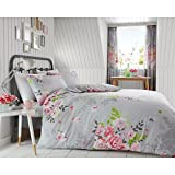 Alice Floral 2 Piece UK Double /US Full Sheet Set, 1 x Double Sided Sheet and 2 x Pillowcases - Grey and Pink