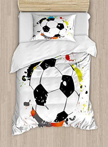 - Lunarable Nursery Duvet Cover Set Twin Size, Abstract Grunge Soccer Ball in Rainbow Colors Game Hobby Activity, Decorative 2 Piece Bedding Set with 1 Pillow Sham, Multicolor White and Black