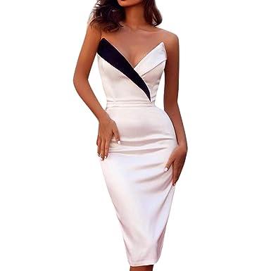 16522d0b8 Vestido Largo Playa Fiesta Elegantes para Mujer,Mujeres Solid Formal Boda  de Dama de Honor Encaje Noche Fiesta de Baile Vestido Largo Ajustados ...