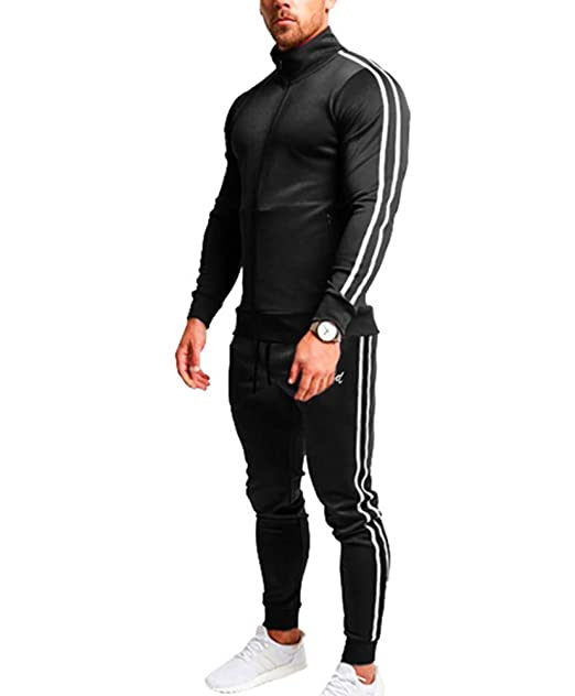 Zip Tops + Pantalones Largos Conjunto de chándal Hombres Fitness ...